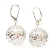 .925 Sterling Silver Filigree Ball Dangle Earrings