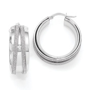 Leslie's 14k White Gold hite Gold Polished Glitter Infused Hoop Earrings