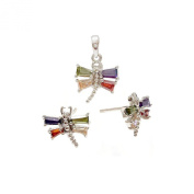 .925 Sterling Silver Jewellery Dragonfly Earrings Pendant 46cm Necklace Set
