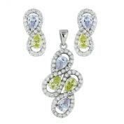 .925 Sterling Silver Jewellery Teardrop Lavender Peridot CZ Earrings Pendant Set 46cm Chain