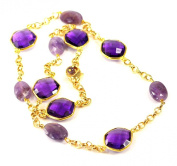 Natural Purple Amethyst Gemstone with Gold Filled Clasp Necklace 48cm N12073011