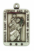 Behold Saint St Christopher Pendant 2.7cm Sterling Silver Medal