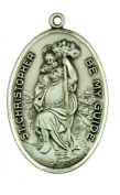 Saint Christpher Be My Guide 3.5cm Sterling Silver Medal
