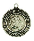 Saint Christopher with St Raphael 2.1cm Sterling Silver Pendant