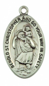 Saint Christopher 3.5cm Oval Sterling Silver Large Oval Pendant