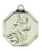 Patron Saint Christopher 2.5cm Sterling Silver Octogon Shape Pendant