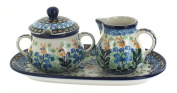 Polish Pottery Lily of the Valley Small Cream & Sugar Set with Tray