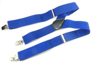 Unisex Adult Blue Adjustable Elastic Brace Suspenders Y back Neon Clip-on Belt
