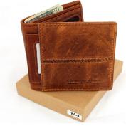 Men Money Vintage Genuine Italian Leather Slim Wallet Coin Natural Pocket Purse Luxury Style.