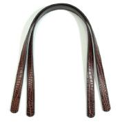 60cm byhands 100% Genuine Leather Crocodile Pattern Dark Brown Purse Handles