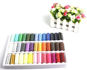 Liroyal 39 Assorted Colour 200 Yards Per Unit Polyester Sewing Thread Spool Set + A set of quality manual sewing tools