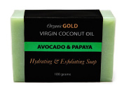Coconut Oil Soap with Papaya & Avocado is the Best Natural Cleanser and Deep Moisturiser for Young-Looking Skin with Less Wrinkles – Handmade for Face and Body - for Healthy and Beautiful Skin