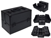 Black Aluminium Makeup Cosmetic Jewellery Storage Case Box Lockable w/ Tiers Strap