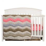 Trend Lab Cocoa Coral 3 Piece Crib Bedding Set, Coral Pink