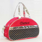 Dance Bag - Sporty Girls Kids Gymnastic Cheer Nylon Half Moon Laser Sequined Silver