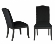 Cortesi Home Duomo Linen Crown Back Dining Chair, Black, Set of 2
