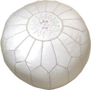 Moroccan Embroidered Leather Pouffe, White on White