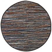 Mixed Brown Leather Matador 1.8mx1.8m Round Rug