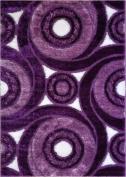 Royal Collection Purple Contemporary Design Shaggy Area Rug (6069)