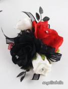 Black, White and Red Rose Wrist Corsage