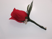 Holiday Red Rose Boutonniere with Pin for Prom, Party, Wedding