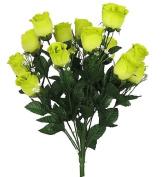43cm Elegant Silk Roses Wedding Bouquet - Lime Green #23