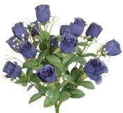43cm Elegant Raindrop Rose Bush Silk Flowers Wedding Bouquet Royal Blue 989