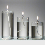 Refillable Glass Unscented Pillar Candles Set of 3 - Use in a Candle Holder or Lantern - Liquid Candles Last a Lifetime