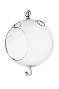 Clear Hanging Glass Candle Holder Round, Glass Terrarium, Plant Terrarium, with Double Hook - 13cm