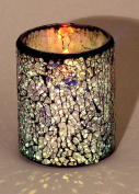 LED Mosaic Flameless Candle, Cracked Glass Pattern, 7.6cm D x 10cm H