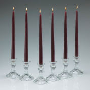 Elegant Burgundy Unscented Taper Candles 30cm Tall 1.9cm Thick Set of 12 Burn 10 Hours