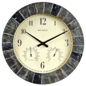 AcuRite 02418 36cm Faux-Slate Indoor/Outdoor Wall Clock with Thermometer, Hygrometer