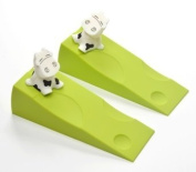 KLOUD City ® 2 pcs Light Green Silicone Cute Cow Door Stopper Stop