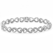 0.30 Carat (ctw) Sterling Silver Round White Diamond Ladies Infinity Heart Tennis Link Bracelet 1/3 CT