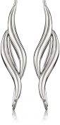 The Ear Pin Sterling Silver Classic Double Curves Polished Bright Earrings