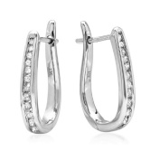 10K White Gold Flip Back Diamond Hoop Earrings
