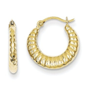 10K Yellow Gold Scalloped Hollow Hinged Post Polished Hoop Earrings