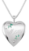 "0.925 Sterling Silver Heart ""Mom"" Locket Charm Pendant Necklace"