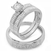 0.33 Carat (ctw) Round White Diamond Men & Women's Micro Pave Engagement Ring Trio Bridal Set 1/3 CT