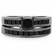 2.35 Carat (ctw) Black Rhodium Plated Sterling Silver Princess Black Diamond Bridal Engagement Ring Set