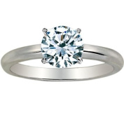 Near 1/2 Carat Round Cut Diamond Solitaire Engagement Ring 14K White Gold 4 Prong (K, I2, 0.45 c.t.w) Very Good Cut