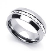 8MM Comfort Fit Tungsten Carbide Wedding Band Braided Silver Strand Inlaid Ring (7 to 14) Cobalt Free