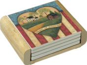 CounterArt Absorbent Coasters in Wooden Holder, Heart of America Design, Set of 4
