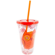 Slant Orange Owl Double Wall Acrylic Tumbler With Straw