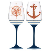 Ocean Depths Compass and Anchor Wine Glass Set