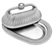 Wilton Armetale Flutes and Pearls Butter Dish with Lid, Oval, 14cm by 20cm