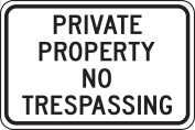 "Accuform Signs FRP903RA Engineer Grade Reflective Aluminium Designated Parking Sign, Legend ""PRIVATE PROPERTY NO TRESPASSING"", 46cm Width x 30cm Length x 0.2cm Thickness, Black on White"