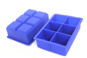 Perfect Kitchen Big Ice Cub Trays - 5.1cm Extra Large Silicone Ice Cube Trays - Set of 2, Blue