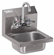 ACE Ultra Space Saver Wall Mount Stainless Steel Hand Sink with No Lead Faucet and Strainer, 31cm by 30cm