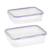 Snapware 1098447 2-Pack 4.5-Cup Airtight Rectangle Container with Purple Seal